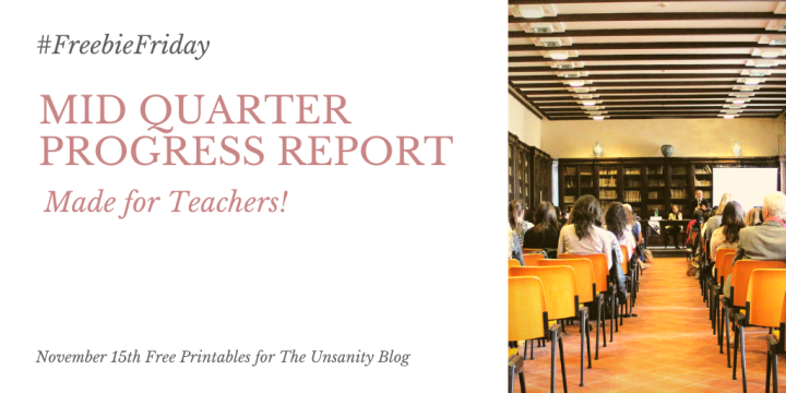 #FreebieFriday – Mid Quarter Progress Report for Teachers!